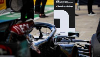 2020 British GP Hamilton Mercedes after qualifying Photo Daimler
