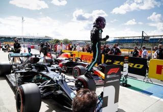 2020 British GP Hamilton Mercedes after qualifying on the car Photo Daimler