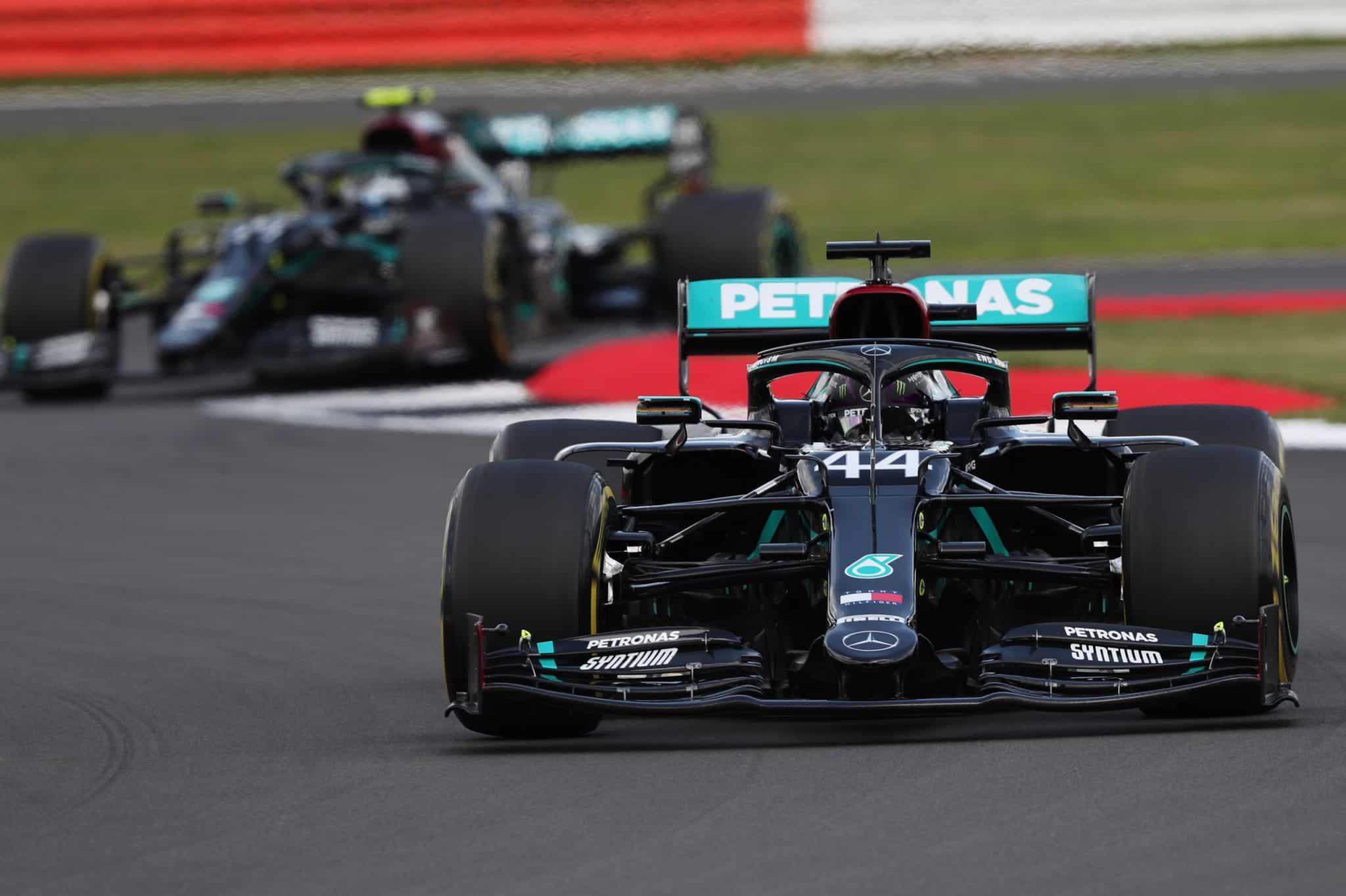 Hamilton leads Bottas, 2020 British GP (Photo: Daimler)