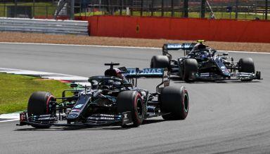 2020 British GP Hamilton leads Bottas Mercedes soft Pirelli Photo Daimler