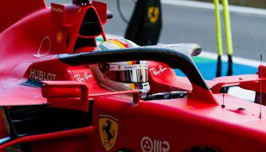 2020 British GP Vettel Ferrari closeup pitlane Photo Ferrari