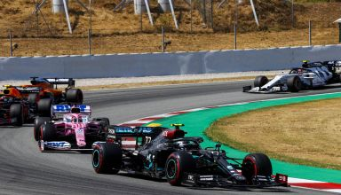 2020 Spanish GP Bottas leads Perez Albon Sainz Gasly Photo Daimler
