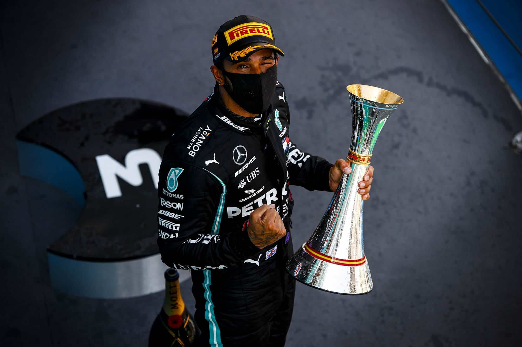 2020 Spanish GP Hamilton after the race with trophy Photo Daimler