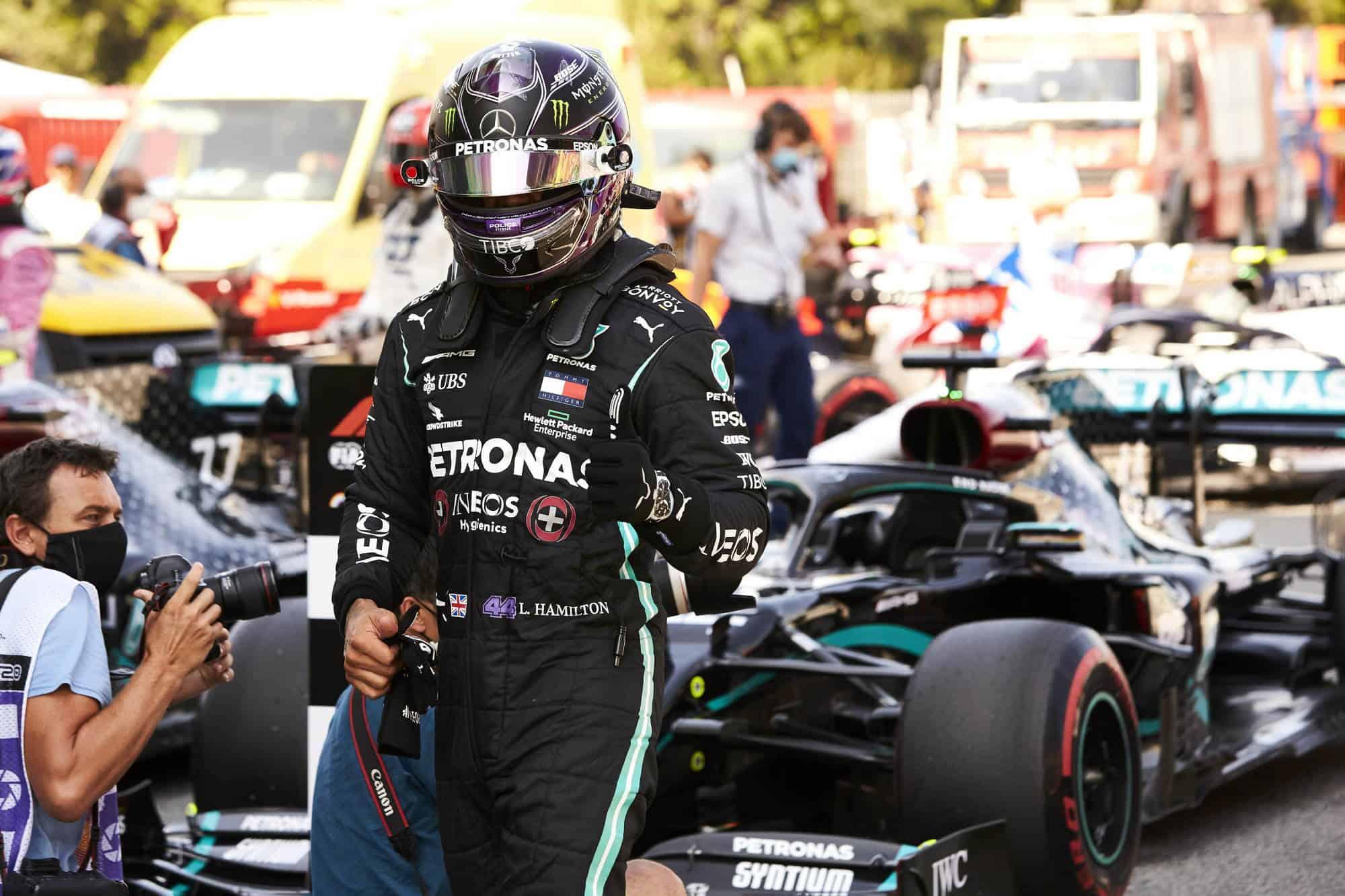 2020 Spanish GP Hamilton soft Pirelli parc ferme after qualifying Photo Daimler