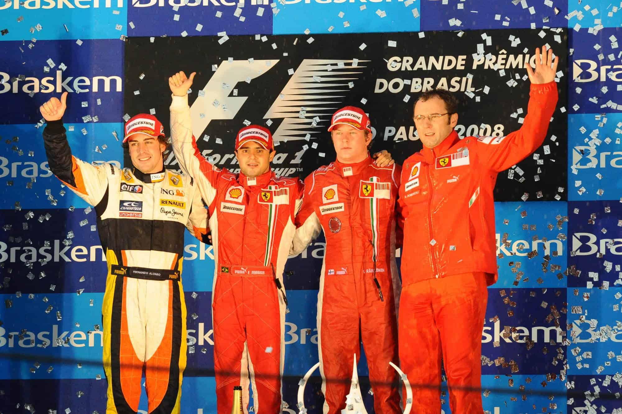 2008 Brazilian GP Podium Alonso Massa Raikkonen Domenicali Photo Ferrari