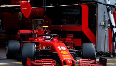 2020 Belgian GP Leclerc Ferrari pitlane hard Pirelli Photo Ferrari