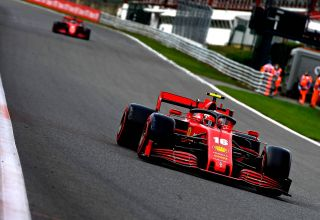 2020 Belgian GP Leclerc leads Vettel Photo Ferrari