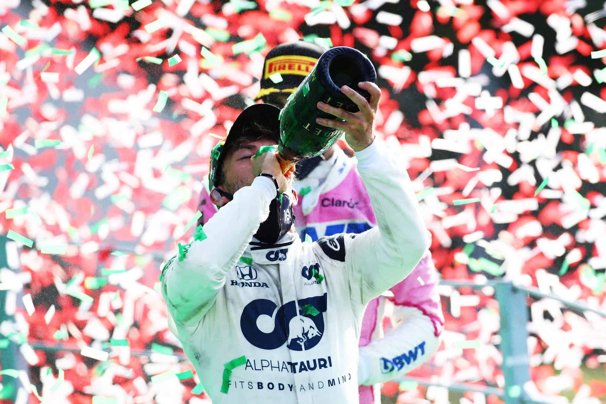 2020 Italian GP Gasly AlphaTauri podium celebration champagne Photo AlphaTauri Red Bull