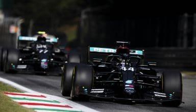2020 Italian GP Hamilton Bottas Mercedes Parabolica Photo Daimler