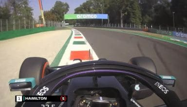 2020 Italian GP Hamilton Mercedes onboard pole position lap - fastest lap in F1 history Screenshot F1-com Youtube