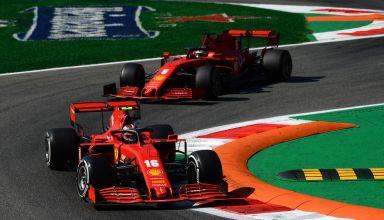 2020 Italian GP Leclerc and Vettel Ferrari first chicane Photo Ferrari