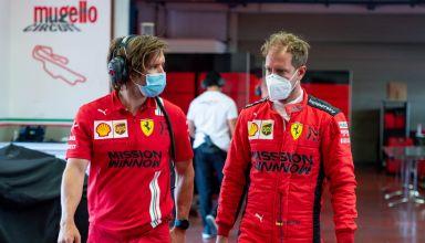 2020 Mugello circuit Vettel Ferrari pre-season test garage pitlane Photo Ferrari