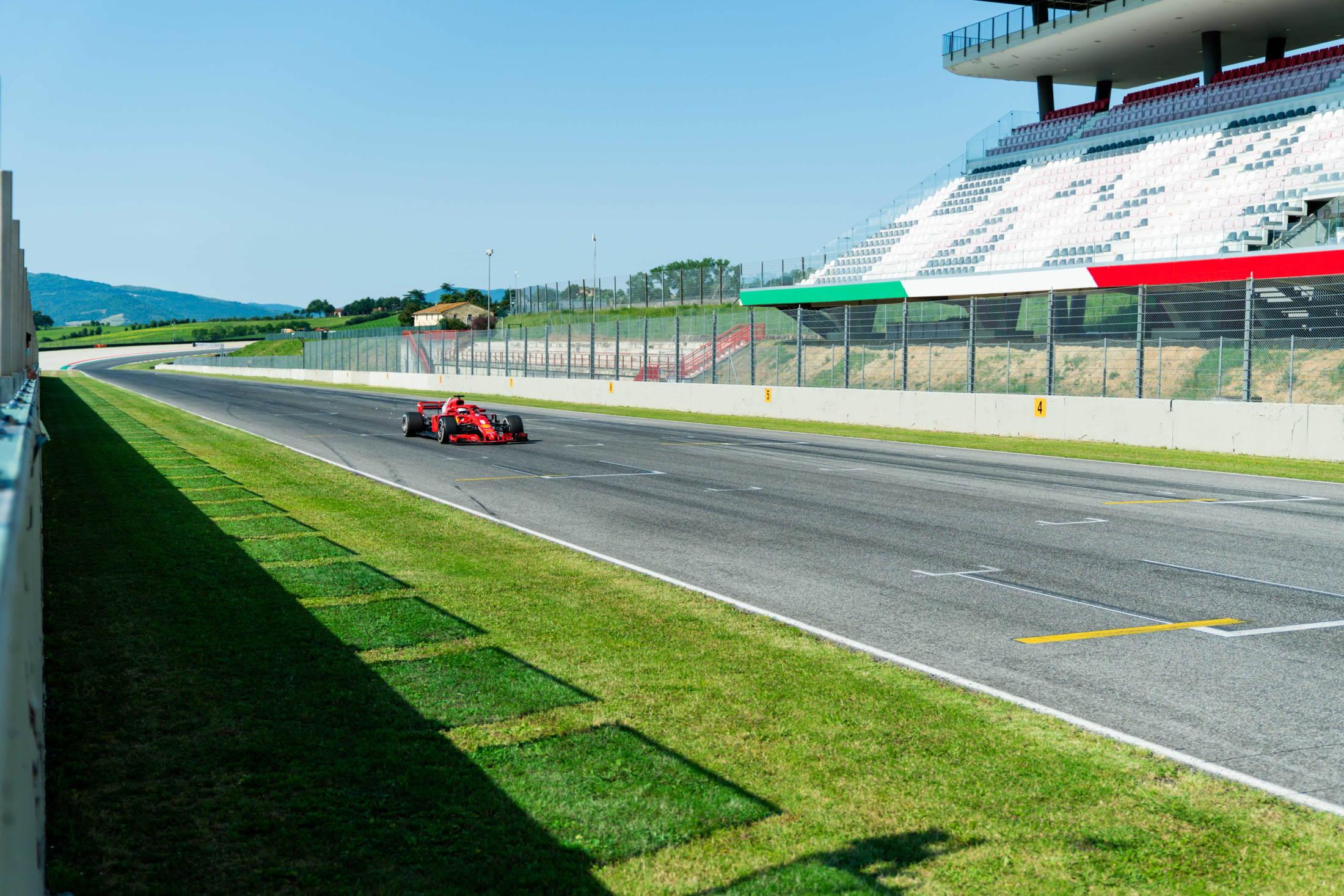 2020 Mugello circuit Vettel Ferrari pre-season test main straight Photo Ferrari