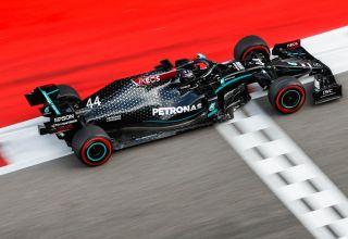 2020 Russian GP Hamilton Mercedes soft Pirelli finish line Photo Daimler