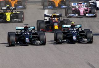 2020 Russian GP start zoom on Hamilton and Bottas Mercedes F1 W11 Photo Daimler