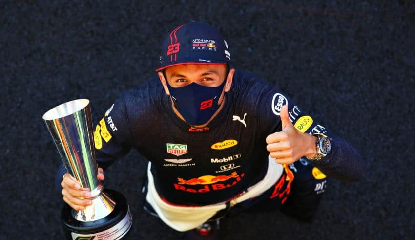 2020 Tuscan GP Albon on podium with trophy Photo Red Bull