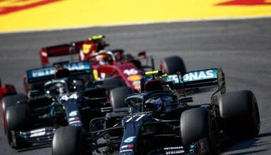 2020 Tuscan GP Bottas leads Hamilton Mercedes F1 W11 and Leclerc Ferrari SF1000 Photo Daimler