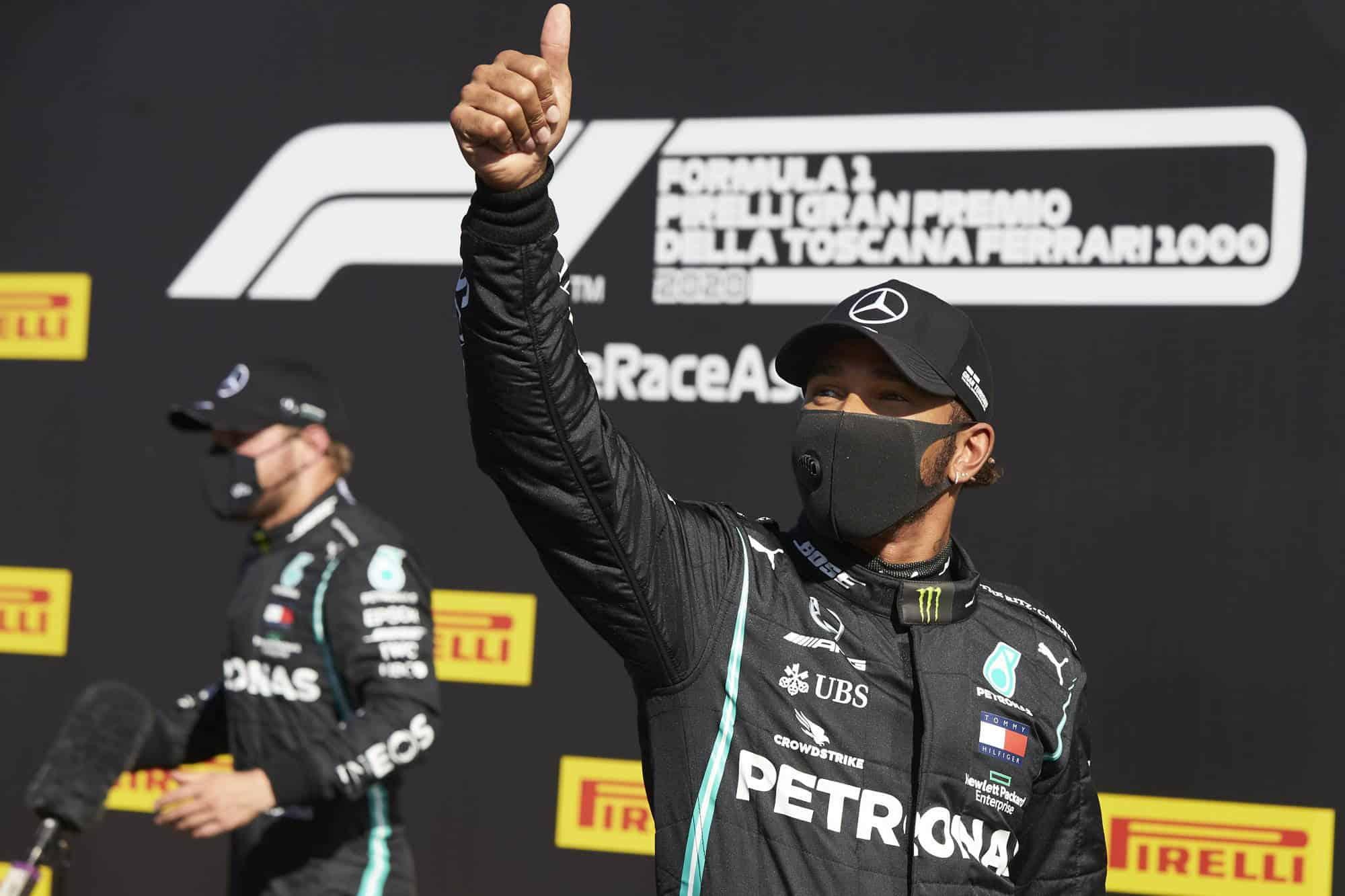 2020 Tuscan GP Hamilton Bottas Mercedes F1 W11 after qualifying Photo Daimler