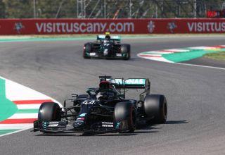 2020 Tuscan GP Hamilton Bottas Mercedes F1 W11 qualifying soft Pirelli Photo Daimler