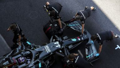 2020 Tuscan GP Hamilton Mercedes F1 W11 overhead shot Photo Daimler