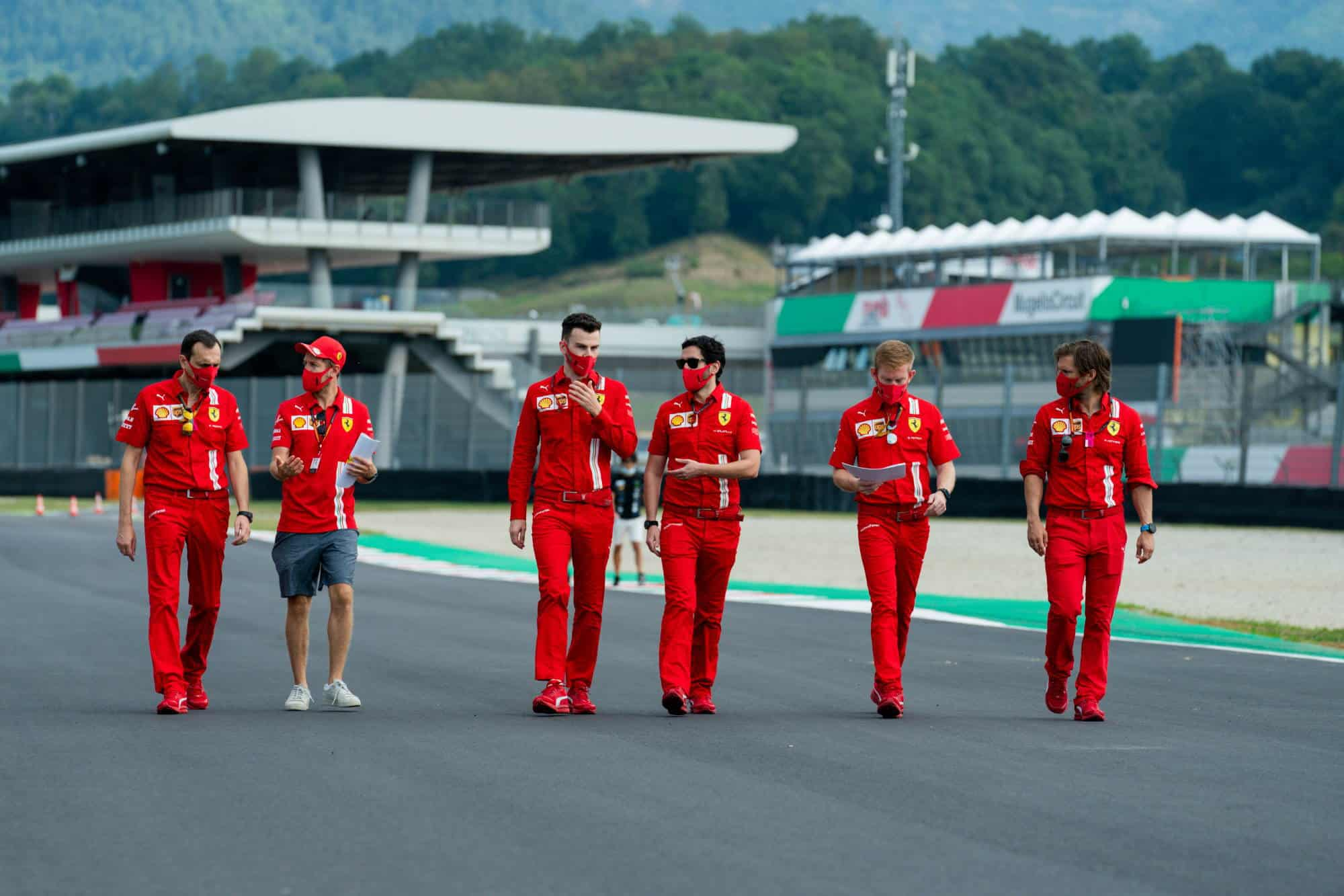 2020 Tuscan GP Mugello circuit Vettel Ferrari on track walk Thursday Photo Ferrari