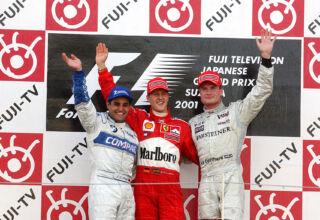 2001 Japanese GP Podium Schumacher Michael Montoya Coulthard Photo Ferrari