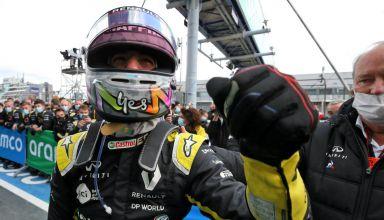 2020 Eifel GP Ricciardo celebrates third after the race parc ferme Photo Renault