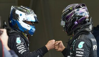 2020 Eifel GP after qualifying Bottas and Hamilton Mercedes Photo Daimler