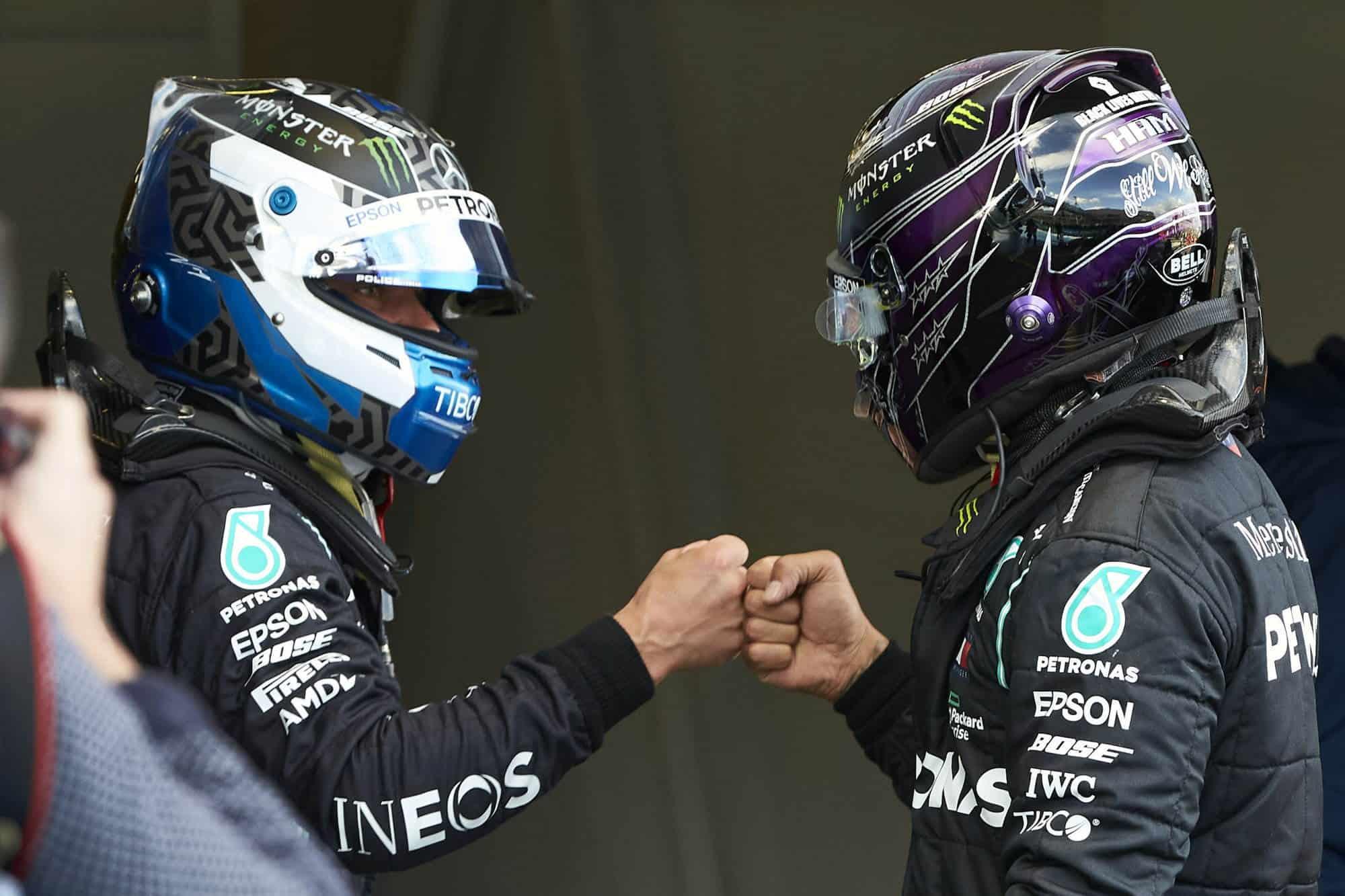 2020 Eifel GP after qualifying Bottas and Hamilton Mercedes Photo Daimler