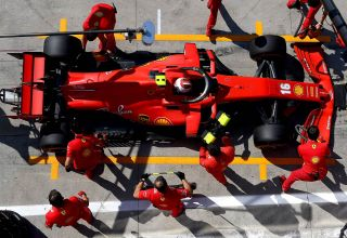 2020-Ferrari-SF1000-Leclerc-pitlane-above-top-Photo-Ferrari