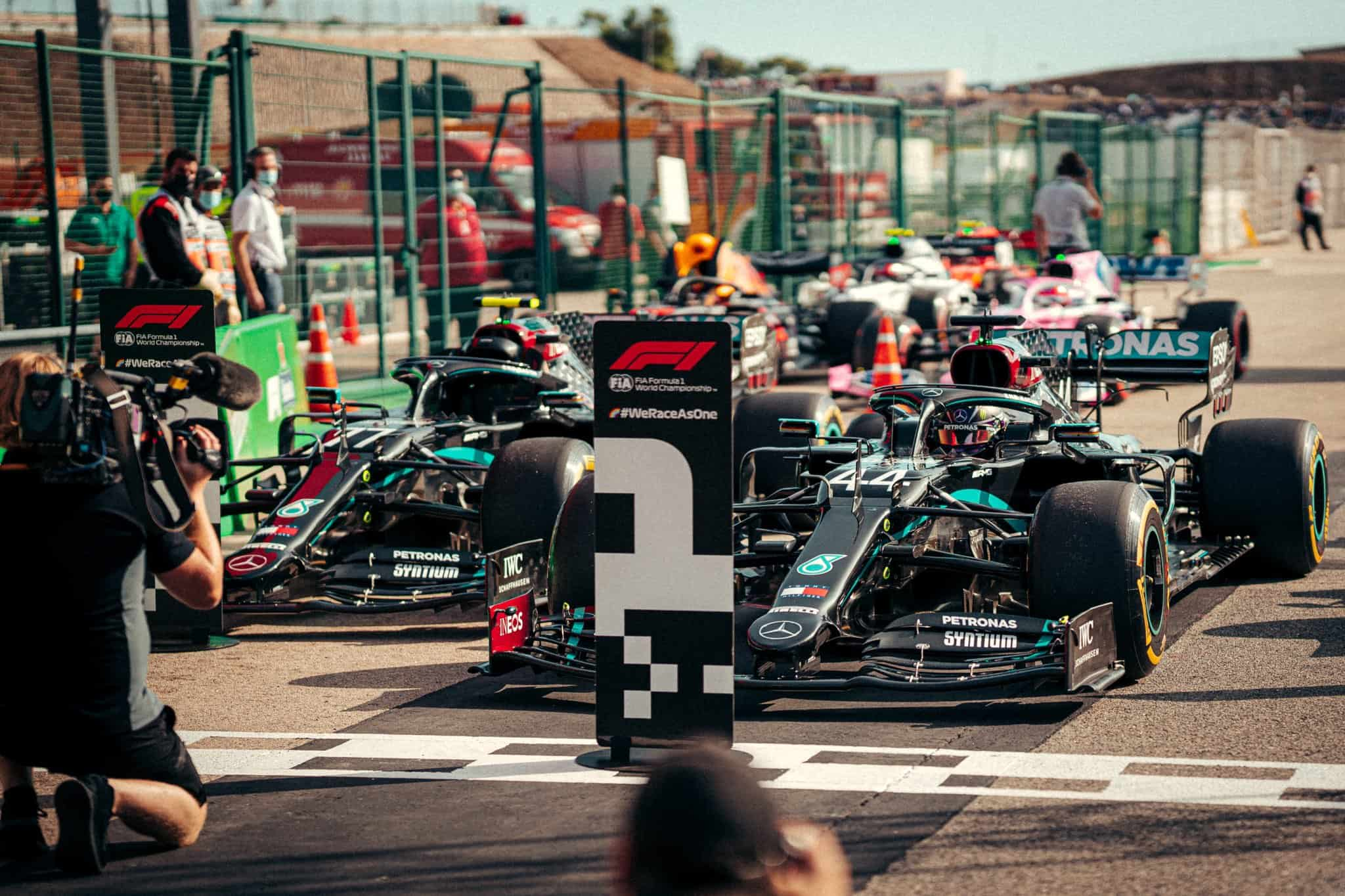 2020 Portugal GP Bottas Hamilton Mercedes F1 W11 after qualifying Photo Daimler Mercedes AMG Twitter