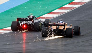 2020 Portugal GP Bottas battle Sainz Photo McLaren