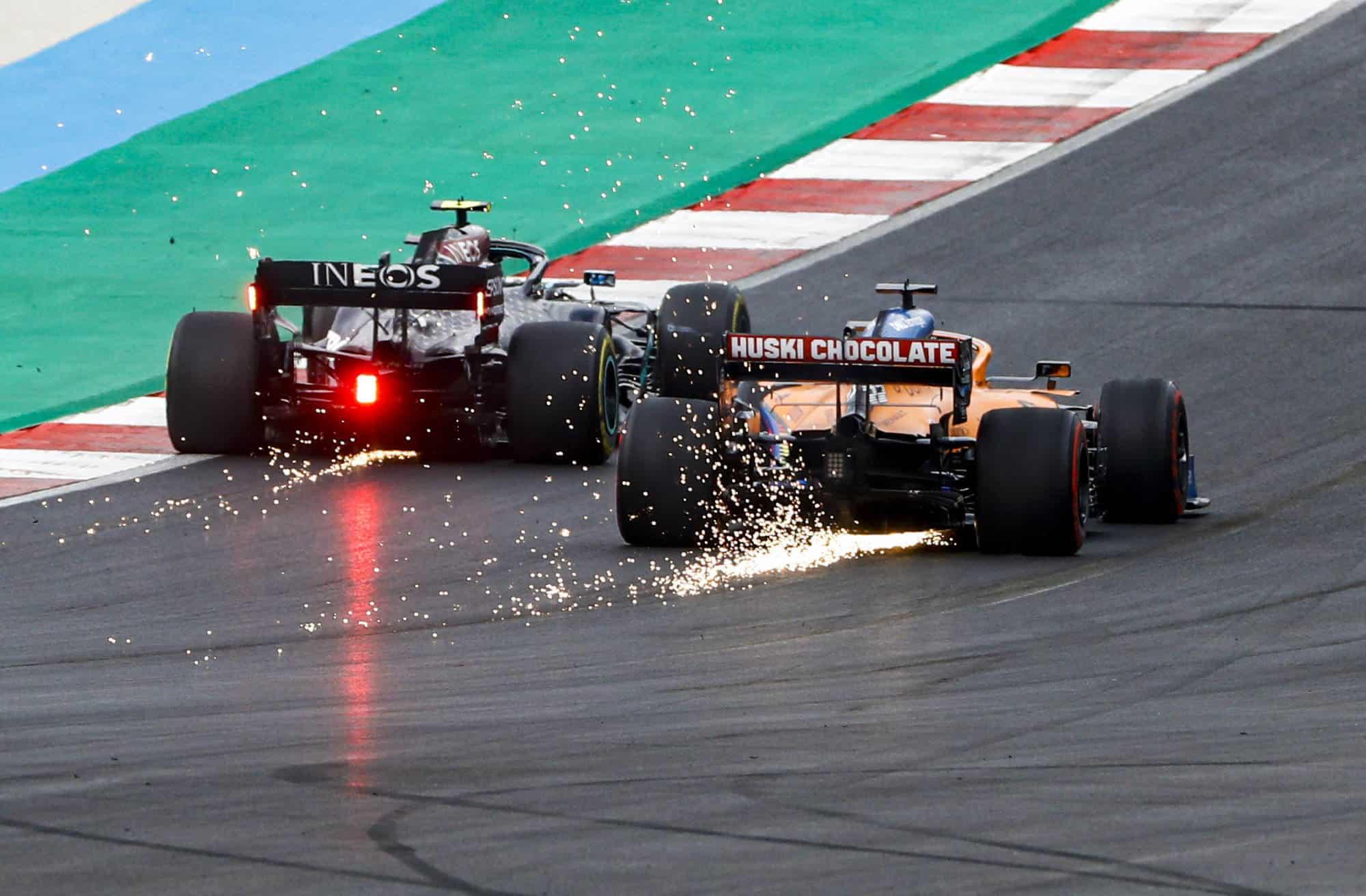 2020 Portugal GP Bottas battle Sainz Photo McLaren