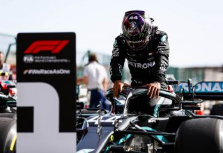 2020 Portugal GP Hamilton Mercedes F1 W11 after qualifying Photo Daimler