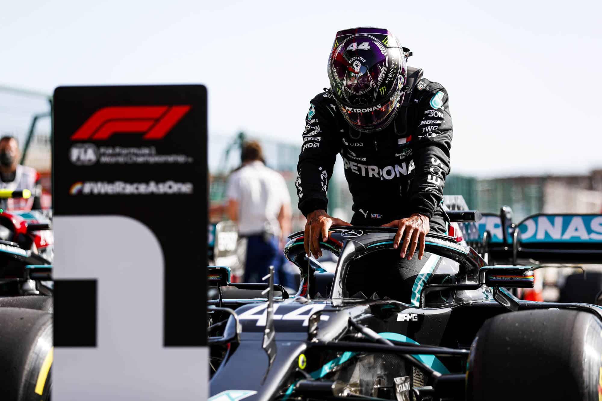 2020 Portugal GP Hamilton Mercedes F1 W11 after qualifying Photo Daimler