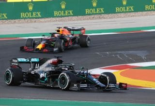 2020 Portugal GP Hamilton leads Verstappen Friday Photo Daimler