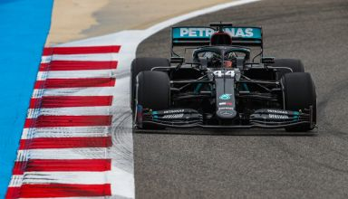 2020 Bahrain GP Hamilton Mercedes FP1 Photo Pirelli Mercedes