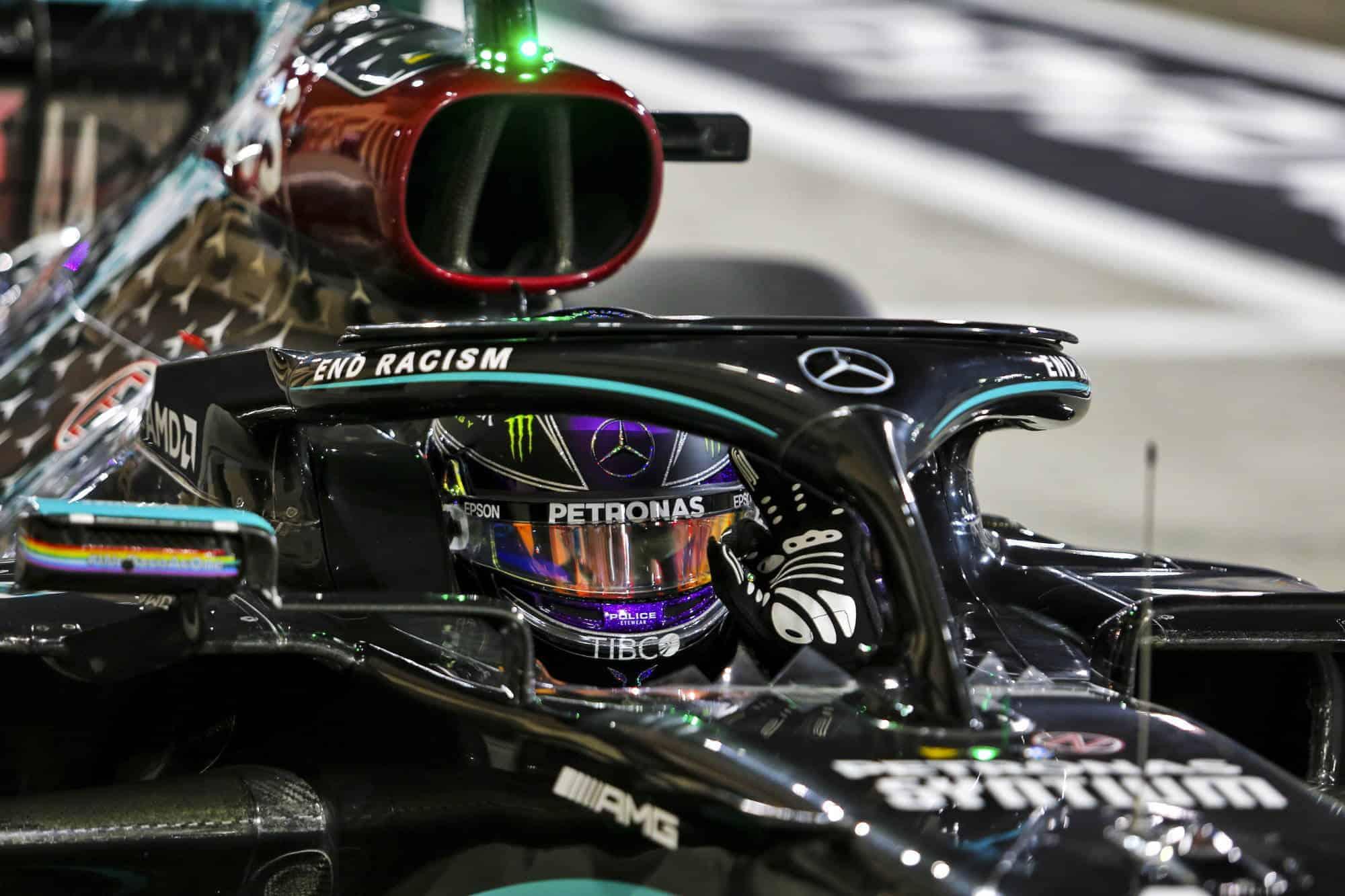 2020 Bahrain GP Hamilton Mercedes after qualifying Photo Pirelli Mercedes