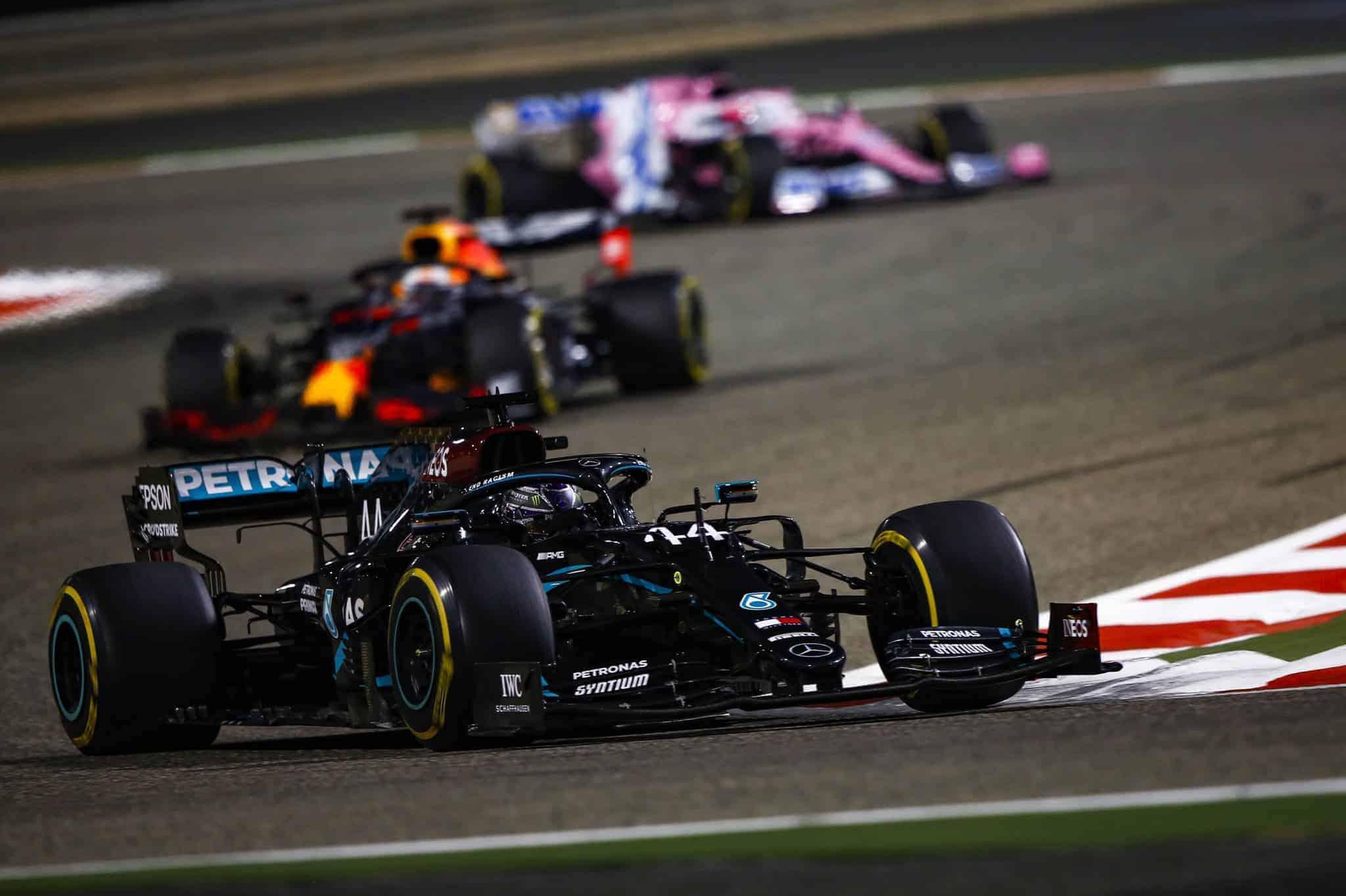 2020 Bahrain GP Hamilton leads Verstappen and Verstappen Mercedes race Photo Mercedes AMG Twitter