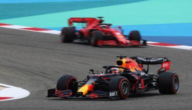 2020 Bahrain GP Verstappen leads Vettel FP Photo Red Bull