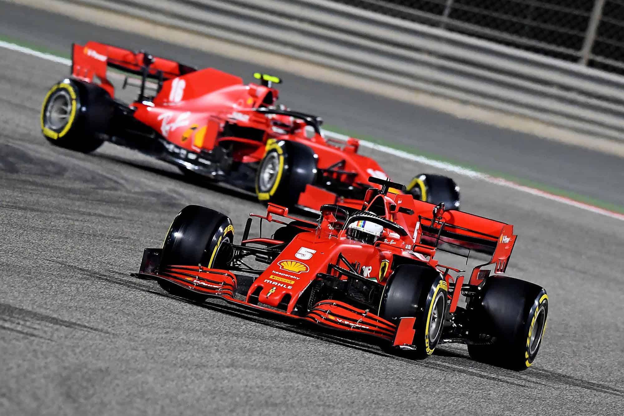 2020 Bahrain GP Vettel leads Leclerc Qualifying Photo Ferrari