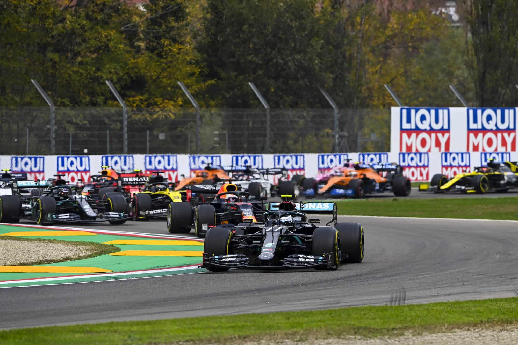 2020 Emilia Romagna Imola Bottas leads Verstappen Hamilton first lap start of the race Photo Daimler