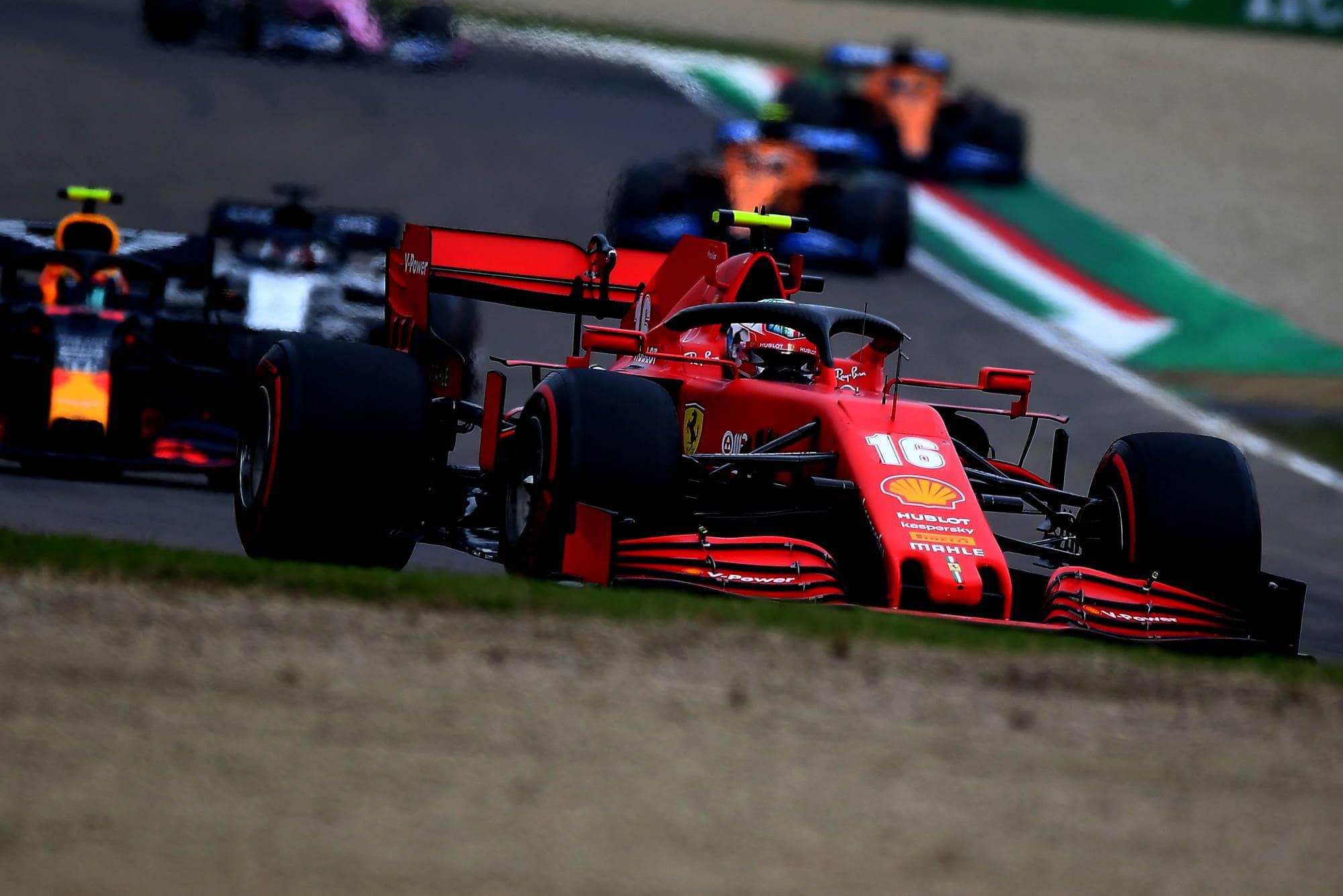 2020 Emilia Romagna Imola Ferrari SF1000 Leclerc leads Albon Red Bull Photo Ferrari