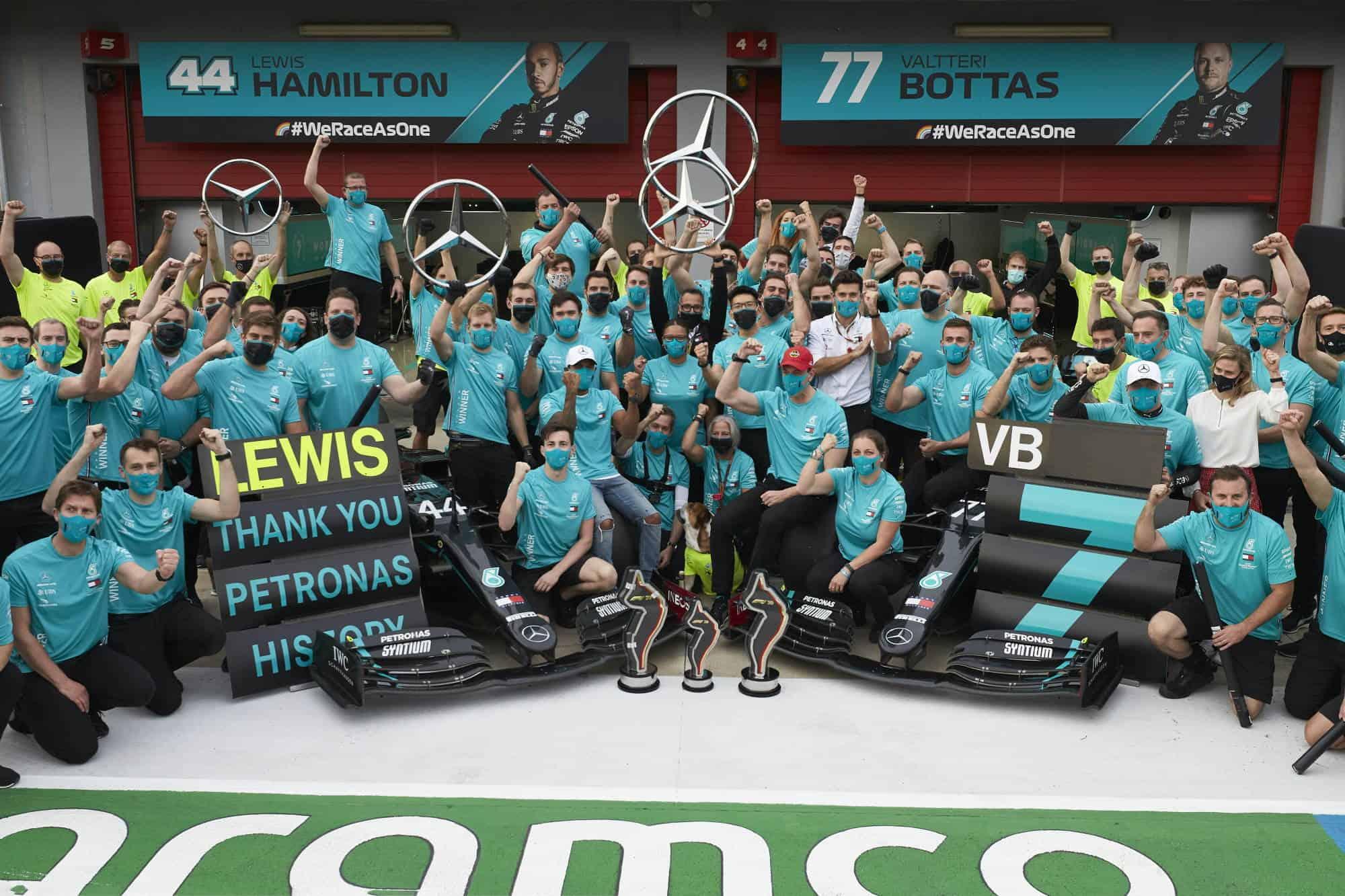 2020 Emilia Romagna Imola Hamilton Bottas Mercedes celebrate 1-2 and 7th constructors title Photo Daimler