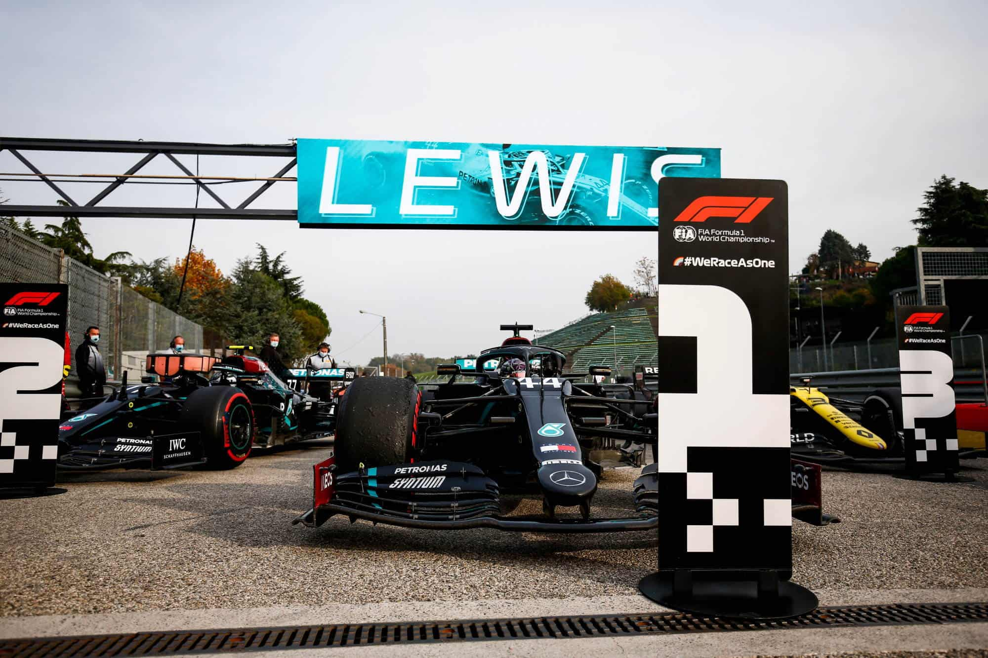 2020 Emilia Romagna Imola Hamilton and Bottas Mercedes after the race Photo Daimler Mercedes AMG Twitter
