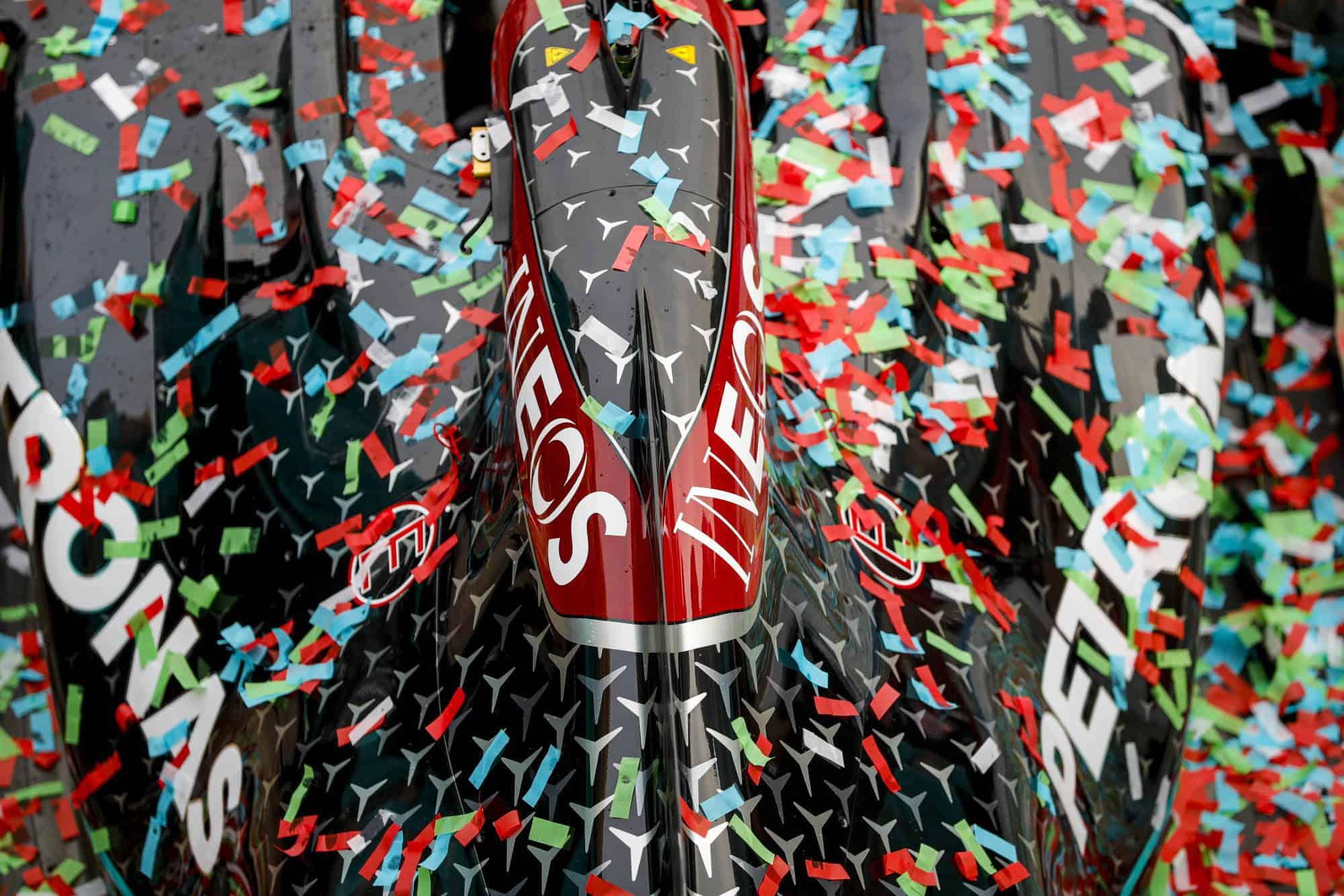 2020 Emilia Romagna Imola Mercedes celebrate 1-2 and 7th constructors title confetti on the car Photo Daimler