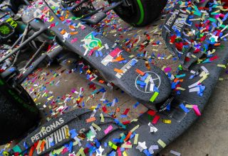 2020 Turkish GP Hamilton Mercedes F1 W11 after the race 7th title confetti Photo Daimler