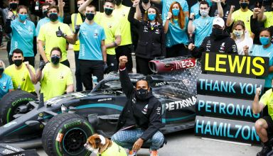2020 Turkish GP Hamilton Mercedes F1 W11 after the race 7th title team celebration Photo Daimler