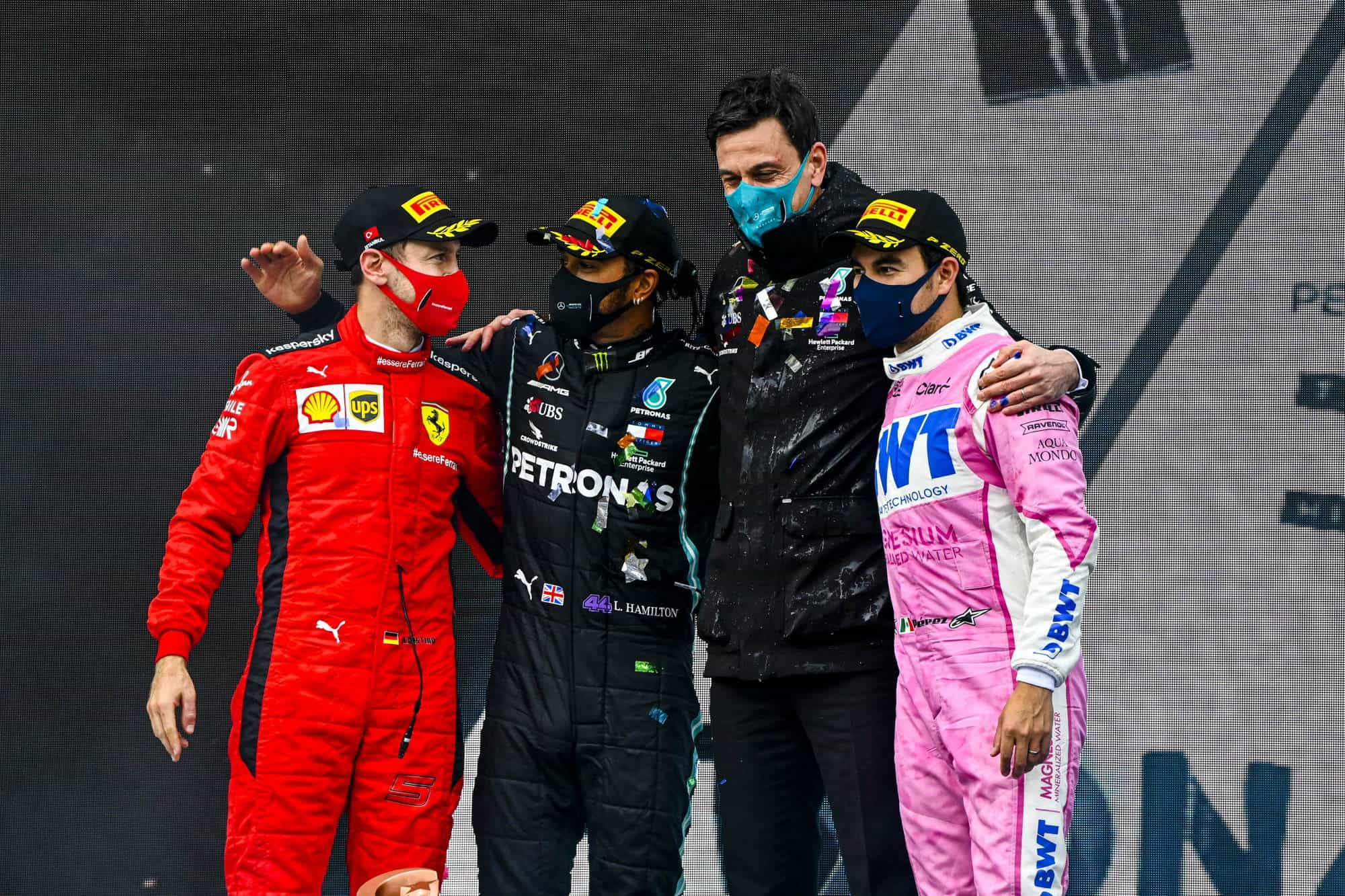 2020 Turkish GP Hamilton Vettel Perez and Wolff on the podium Photo Daimler