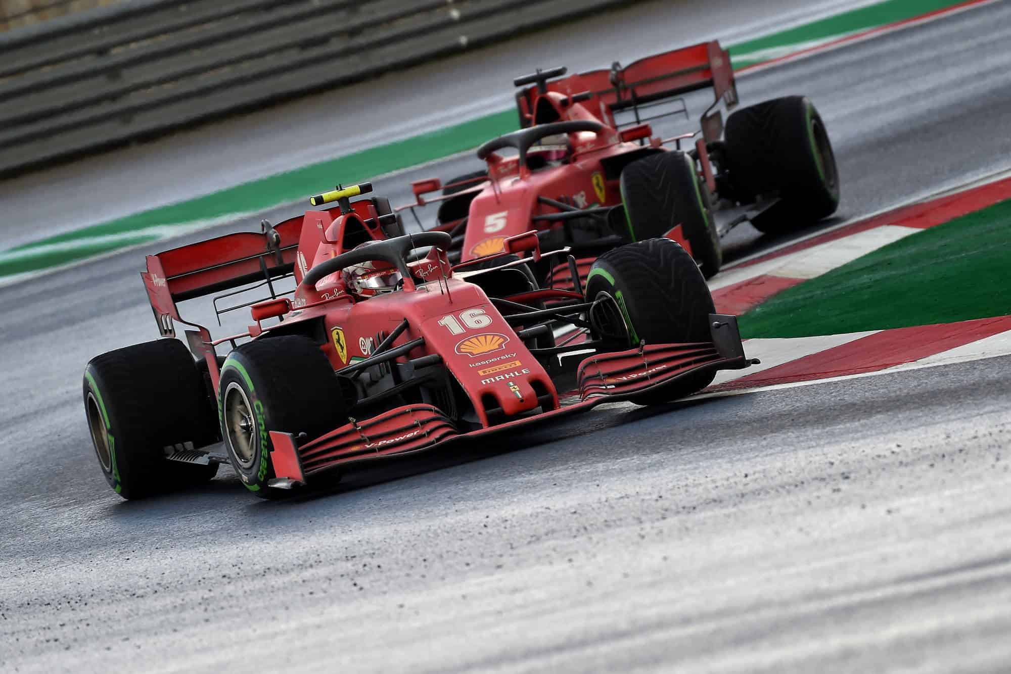 2020 Turkish GP Leclerc leads Vettel Ferrari intermediates Photo Ferrari F1 Twitter